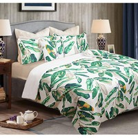 6 Piece Queen Comforter Set Leaves Green by Shangri La
