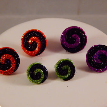 Halloween Swirl Glitter Thumbtacks - colorful spiral pushpins - bright and colorful gift for teacher, co-worker - home office dorm decor,