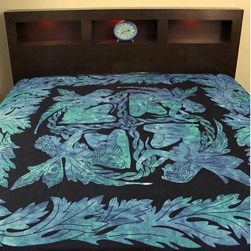 Faerie Braid Celtic Tapestry Tablecloth Cotton Spread Blues Twin Full