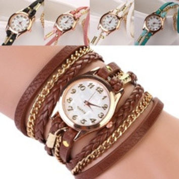 Wristwatch Creative Women Braided Rope Lanyards Watch Bracelet Watch Ladies Wristwatch [7956430343]