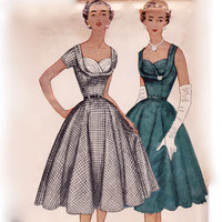 Vintage 1950s Sewing Pattern - Gathered Shelf Bust Cocktail Dress, Sleeveless or Short Sleeves - 1954 Simplicity 4704, Bust 30, Uncut