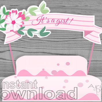 It'a girl ribbon cake banner, printable, baby pink, striped ribbon cake topper with flower, baby shower, instant download PDF / JPG files