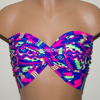 Neon Aztec Tribal Twisted Bandeau, Tribal Swimwear Bikini Top, Spandex Bandeau Bikini in Blue, Purple, Pink and Green