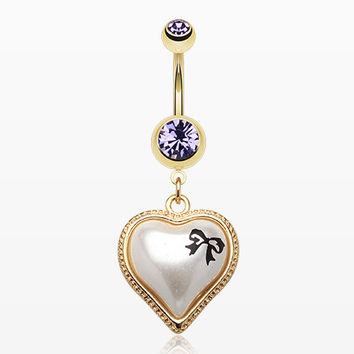 Golden Puffed Pearl Heart Ribbon Belly Ring