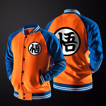 DIMUSI Japanese Anime Dragon ball inspired  Varsity Jacket Autumn Casual Sweatshirt Hoodie