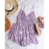 floral lace inset romper - light purple