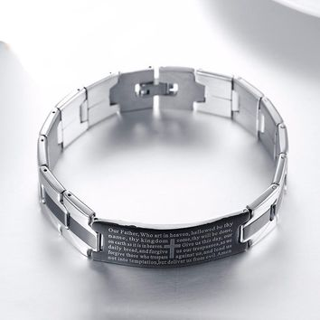 """The Lord's Prayer"" Stainless Steel Men's Bracelet"