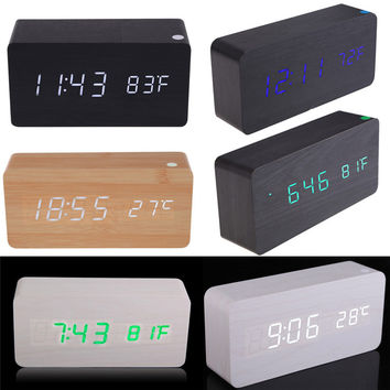 2016 Digital LED White Green Wooden Wood Clocks Desk Home Fashion Modern Alarm Clock Date Temperature Horloge