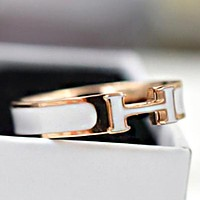 Hermes Fashion New H Letter Ring Women Personality Accessories White