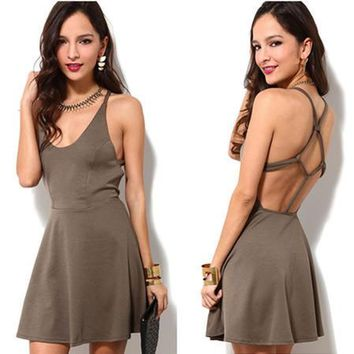 Fashion Solid Color Sleeveless Backless Crisscross Knotted Strap Mini Dress