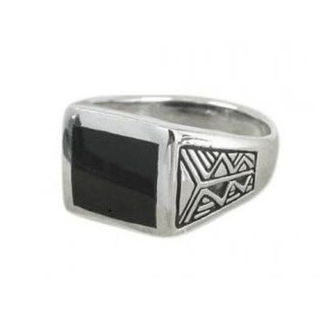 925 Sterling Silver Men's Aztec Style Rectangular Black Genuine Onyx Ring