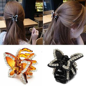 New Women's Butterfly Crystal Rhinestone Claw Hairpin Hair Clip Clamp Accessory  7GTA 91C4
