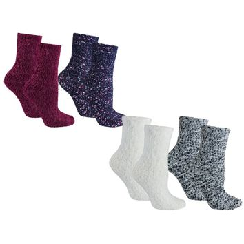 4 Pair Pack Fuzzy Lavender Infused Slipper Socks