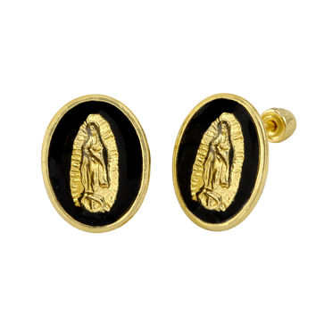10k Yellow Gold Guadalupe Black Oval Medallion Screwback Stud Earrings 11x8