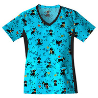 Flexibles by Cherokee Women's Soft Knit Side Panel Print Scrub Top|MyNursingUniforms