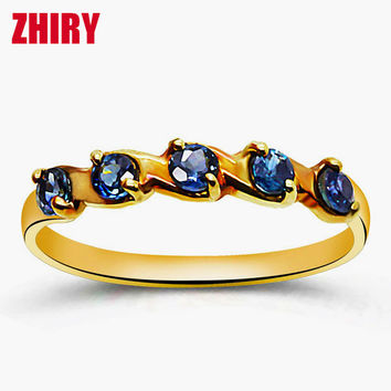Real Sapphire ring 18K yellow gold rings natural precious stone fine jewelry woman wife anniversary wedding noble