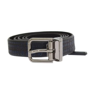 Dolce & Gabbana Black Blue Pattern Leather Silver Buckle Belt
