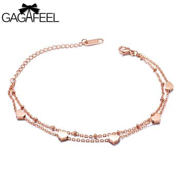 Stainless Steel & Rose Gold Plated 16+6CM Extend Chain Bracelet