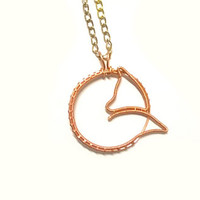 Fox Necklace, Wire Wrapped Copper Curled Fox Pendant, Animal Wire Wrapped Jewelry, Wire Jewellery, Wire Shaped Cute Copper Necklace
