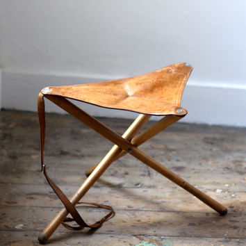 Vintage Leather Tripod Camp Stool   Folding Seat Or Chair