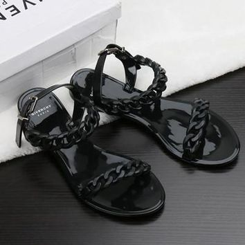 Summer flip flops new plastic chain beach shoes candy color jelly sandals chain flat bottomed out sandals Shoes women