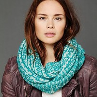 Free People Gaia Loop Scarf - Available in 3 Colors: Black/White, Orange/Oat, & Turquoise/White