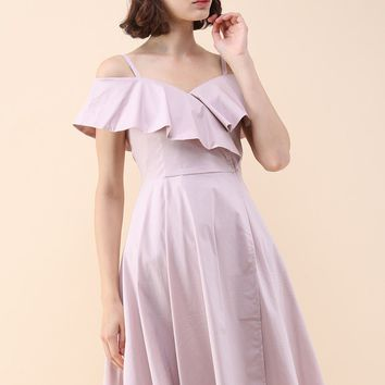 Appealing Sweet Frilling Cold-Shoulder Flap Dress in Pink