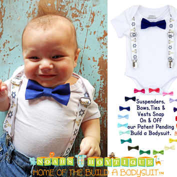 Baby Boy Hanukkah Chanukah Outfit Bow Tie and Suspenders