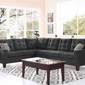 Oadeer Home D6705 4 pc collette collection dark gray polyfiber faux linen fabric upholstered sectional sofa