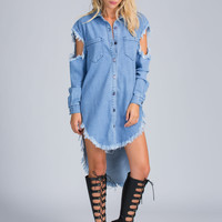 So Torn Denim High-Low Shirt