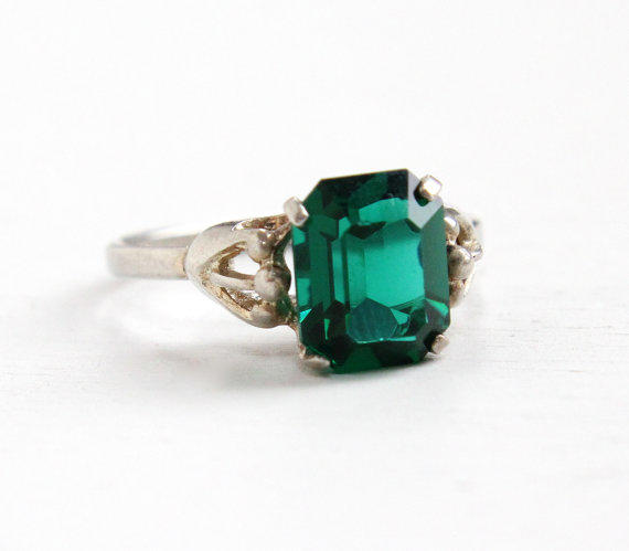 Vintage Sterling Silver Simulated Emerald From Maejean Vintage