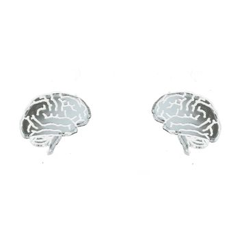 Brain Earrings in Mirror Silver