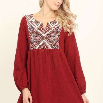 Embroidered Baby Doll Tunic