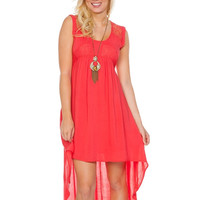 Coral High Low Laced Back Dress