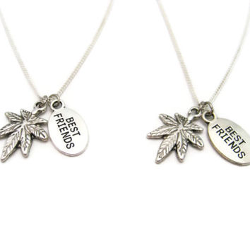Best Buds Necklace Set Pot Leaf Necklace Weed  Necklace Marijuana Jewelry Best Friends Gifts  Be Kind 420 Necklace Stoner Necklace Set
