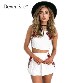 DevenGee Sexy Summer Beach Two Piece Set Women Floral Embroidery Vintage Crop Top Shorts Skirt Set White Black 2 Piece Outfits