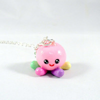 Squidgy Charm Necklace, Of Mice & Men, Squid, Silver Plated Necklace, Cute, Kawaii :D