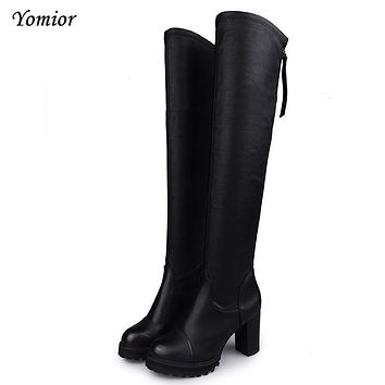 Yomior Western Style Suede Slim Boots Over The Knee High Women Snow Boots Women's Fashion Winter Thigh High Boots Shoes Woman