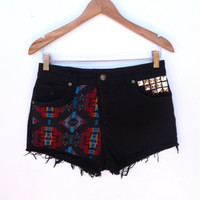 Highwaisted Vintage Black  Denim Studded Shorts Southwestern Coachella  Size 30 high waist