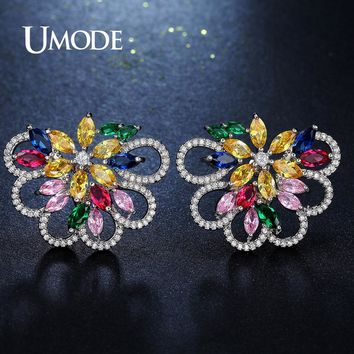 UMDOE Design Fashion Jewelry Multi Color AAA+ CZ Big Clusters Flower Crystal Stud Earrings for Women Party Brincos Gifts UE0286