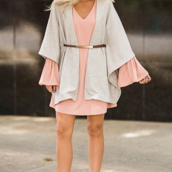 Oh My Posh Oatmeal Belted Cardigan