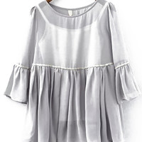 Ruffle Sleeve Sheer Chiffon Grey Top