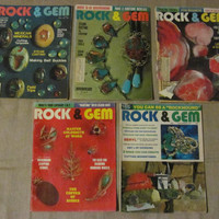 VINTAGE ROCK & GEM Magazine, Lot of 5, 1970's, Lapidary, Rare, Collectible, Gems, Antique, Jewelry Making