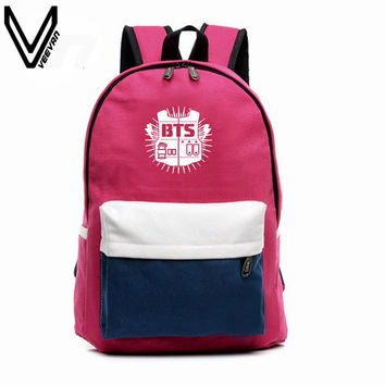 2016 BTS Backpacks EXO Bags B2ST GOT7 B1A4 B.A.P CNBLUE Canvas Should Bag Super Junior Backpack School Bags For Teenagers Fans