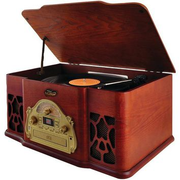 Pyle Home(R) PTCD64UBT Vintage-Style Bluetooth(R) Turntable Speaker System with CD Player & Vinyl-to-MP3 Recording