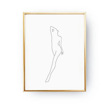 Woman Leg & Arm, Feminine Silhouette, Sketch Wall Art, Woman Art, Minimal Art, Simple Fashion Art, Drawn Body, Black And White, Naked Print