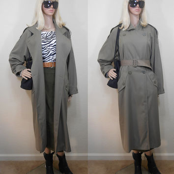 80s, J Gallery Brand Ladies Calf Length Trench Coat, Khaki Green, Heavy Polyester Rayon Shell, Fully Lined, Double Breasted, Size 4 Small