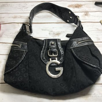 Guess handbag black. Shoulder Satchel Hardware