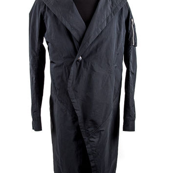 Black Polyester Silk Trench Coat Size:M