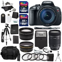 Canon EOS Rebel T5i 18.0 MP Digital SLR Camera 18-55mm STM Lens, Canon EF 75-300mm f/4-5.6 III Lens, Polaroid .43x HD Wide Angle Lens 2.2X High Definition Telephoto Lens, 40 GB, Tripod & Accessory Kit